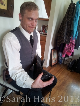 The ever-dapper Master of Arts, Aaron, showing me how to straight-lace my boots