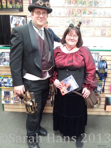Two of our newest members keepin' it fancy at the Laughing Ogre Comic Shop